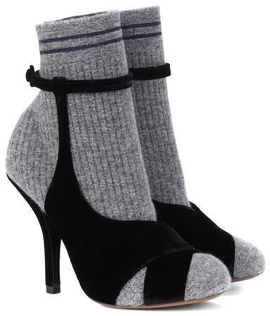 Fendi Mohair and velvet ankle boots