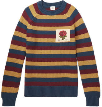 Kent & Curwen Appliquéd Striped Wool Sweater