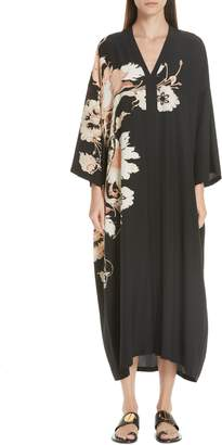Etro Floral Print Silk Caftan Dress