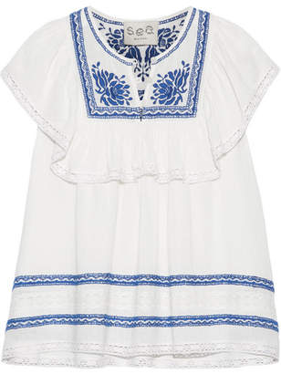 SEA - Crochet-trimmed Embroidered Cotton-gauze Blouse - Cream $295 thestylecure.com