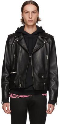 Saint Laurent Black Classic Leather Motorcycle Jacket