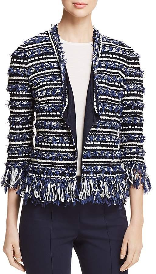 Lofty Floats Fringe-Trimmed Knit Jacket