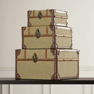 Co Darby Home 3 Piece Old Look Burlap Travel Trinket Box Set