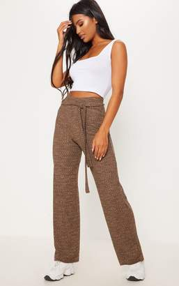 PrettyLittleThing Stone Knitted Wide Leg Trouser
