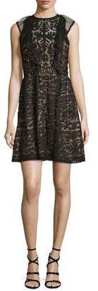 Parker Roswell Geometric Lace Sleeveless Dress $247 thestylecure.com