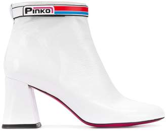 Pinko logo strap ankle boots