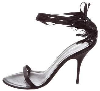 Alexandra Neel Satin Feather-Embellished Sandals