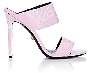 Versace Women's Logo-Print Patent Leather Mules - Pink