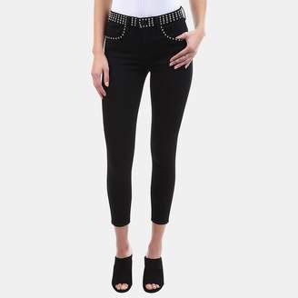 L'Agence Margot Studded High-Rise Stretch Jean in Noir