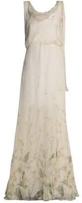 Valentino Draped Floral-Print Silk-Chiffon Gown