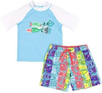 a95516d43 Trunks Toddler Boy Kiko & Max Fish Raglan Rash Guard Top & Swim Set