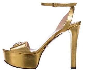 Gucci Metallic Horsebit Sandals