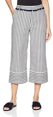 Moon River Women's Striped Crop Pants