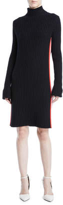 Calvin Klein Mock-Neck Long-Sleeve Ribbed Sweaterdress w/ Stripe Sides