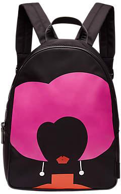 Lulu Guinness Heart Face Backpack, Black/Multi