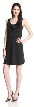 Star Vixen Women's Sleeveless Ponte Skater Dress with Statement Necklace