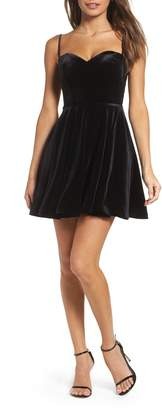 La Femme Strappy Back Velvet Skater Dress