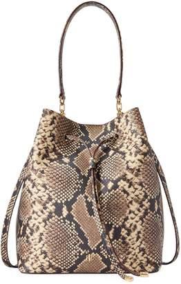 Lauren Ralph Lauren Snakeskin Print Leather Drawstring Bag