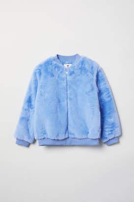 H&M Faux Fur Bomber Jacket - Blue