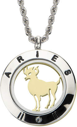 FINE JEWELRY Aries Zodiac Reversible Two-Tone Stainless Steel Locket Pendant Necklace