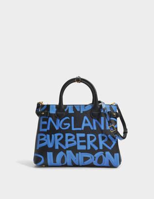 Burberry Medium Banner Graffiti Print Bag in Black Leather Graffiti Print