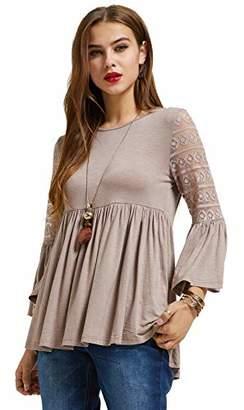 f17b369376 Sonja BETRO Women s Knit Lace 3 4 Bell Ruffle Sleeve Empire Waist Babydoll  Keyhole Back