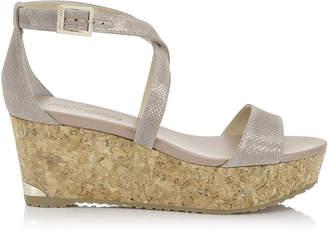 Jimmy Choo PORTIA 70 Powder Pink Glitter Mesh Wedge Sandals