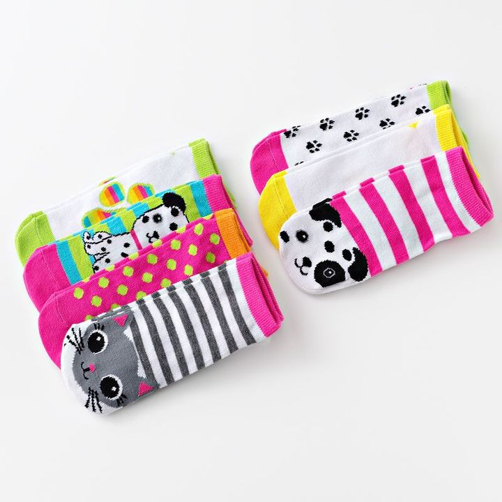 Pink Cookie 7-pk. pet animal no-show socks - girls