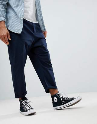 Asos Oversized Tapered Chinos In Navy