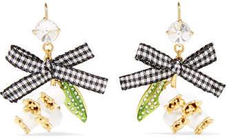 Miu Miu Gold-tone, Crystal, Enamel And Canvas Earrings - White