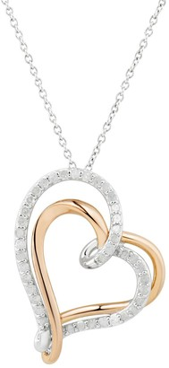 Two Hearts Forever One Two Tone Sterling Silver 1/2 Carat T.W. Diamond Double Heart Pendant