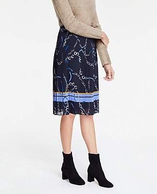 Ann Taylor Petite Ribbon Chain Pleated Skirt