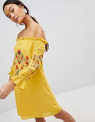 Parisian Off Shoulder Embroidered Dress