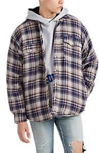 Warren Lotas Men's Embroidered Plaid Cotton Shirt-Jacket