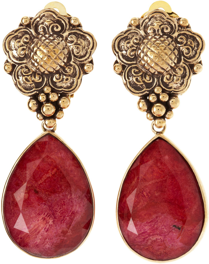 Stephen Dweck Coral Dangle Clip-On Earrings