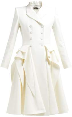 Alexander McQueen Ruffle Double Breasted Wool Blend Coat - Womens - Ivory