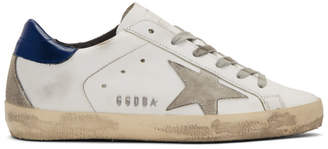 Golden Goose White and Navy Superstar Sneakers