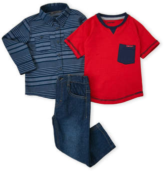DKNY Toddler Boys) 3-Piece Woven Jeans Set