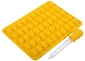 HURRISE 50 Cavities Chocolate Candy &Ice Cube Bear Shape Silicone Mold Make with Dropper,Yellow