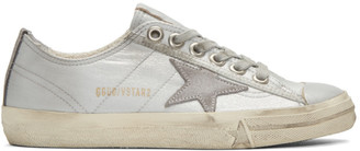 Golden Goose Silver V-Star 2 Sneakers $460 thestylecure.com