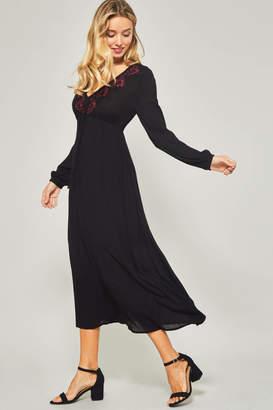 Promesa Embroidered long sleeve maxi dress