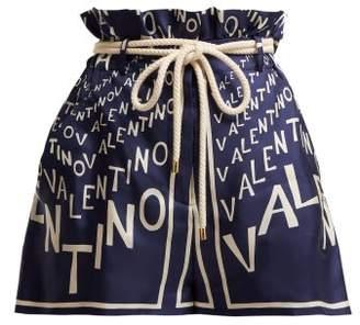 Valentino Logo Print Paperbag Waist Silk Twill Shorts - Womens - Navy White