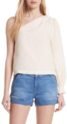 Frame Stripe Linen One-Shoulder Top