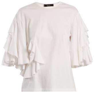 Ellery Jeremiah Ruffle Trimmed Cotton Jersey T Shirt - Womens - White