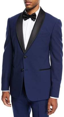 Armani Collezioni Two-Piece Tuxedo with Satin Peak Lapel, Blue