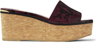 Jimmy Choo DEEDEE 80 Bordeaux Snake Printed Leather Sandal Wedges