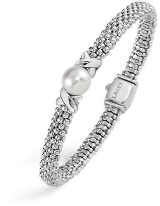 Lagos Sterling Silver Luna Caviar Bracelet with Cultured Freshwater Pearl