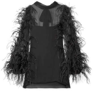 Valentino Feather-trimmed Silk-chiffon Top - Black