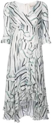Nicole Miller stripped ruffled flared dress