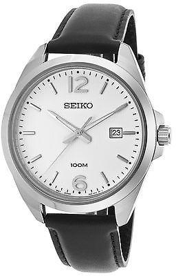 SeikoSeiko SUR213P1 Men's Classic Black Calf-Skin White Dial